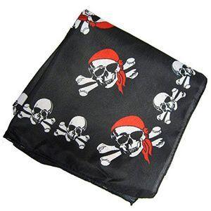 Bandana nera con ossa e teschio pirata con bandana rossa