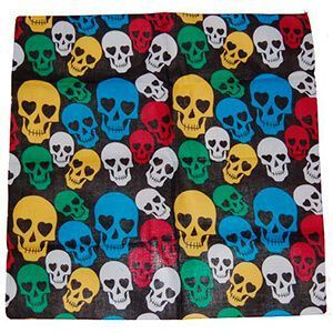 Bandana in cotone con sfondo nero e teschi colorati