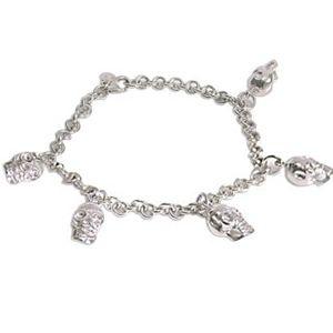 Bracciale con teschietti pendenti in argento massiccio
