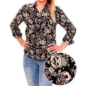 Camicia a maniche lunghe da donna con teschi e foglie