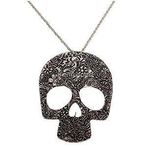 Collana da donna stile gotico a forma di teschio ricamato