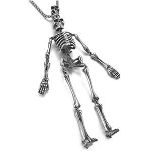 Collana in argento con teschio e ciondolo a forma di scheletro