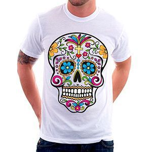 Maglietta da uomo con teschio messicano colorato con fiori