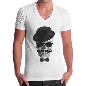 Maglietta da uomo con scollo a V e teschio con cappello e papillon