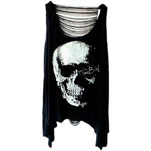 Maglietta senza maniche nera con teschio punk