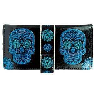 Portafoglio nero con teschi e fiori azzurri