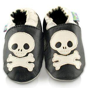 Scarpe in pelle per bimbo con teschio e ossa