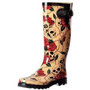 Stivali da pioggia in gomma con teschi e rose