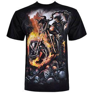 T-shirt da biker nera con motocicletta, teschi e fuoco
