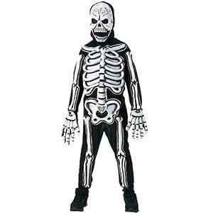 Costume da teschio e scheletro fluorescente per bambino