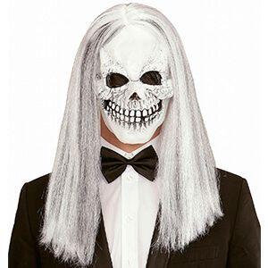 Maschera teschio con capelli lunghi e grigi