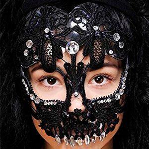 Maschera da teschio in pizzo nero e con strass applicati
