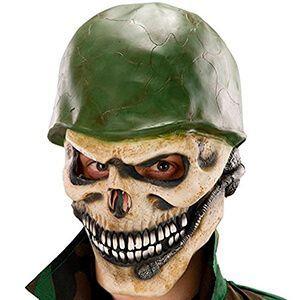 Maschera da teschio con elmetto verde militare