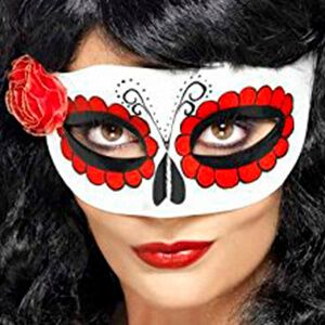 Maschera teschio messicano bianca con una rosa rossa