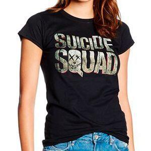 T-shirt nera da donna con il logo di Suicide Squad e il teschio