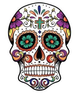 Disegno di tatuaggio con calavera messicana