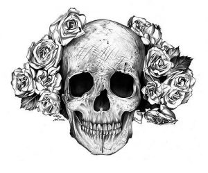 Immagine per tatuaggi con teschio in bianco e nero con rose ai lati