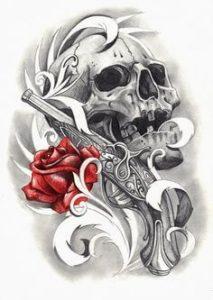 Immagine per tatuaggio con teschio con pistola e rosa rossa