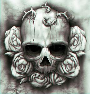 Immagine per tatuaggio con teschio e collana di rose