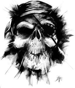 Immagine per tatuaggio con teschio pirata con occhio bendato