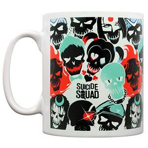 Tazza bianca di Suicide Squad con teschi