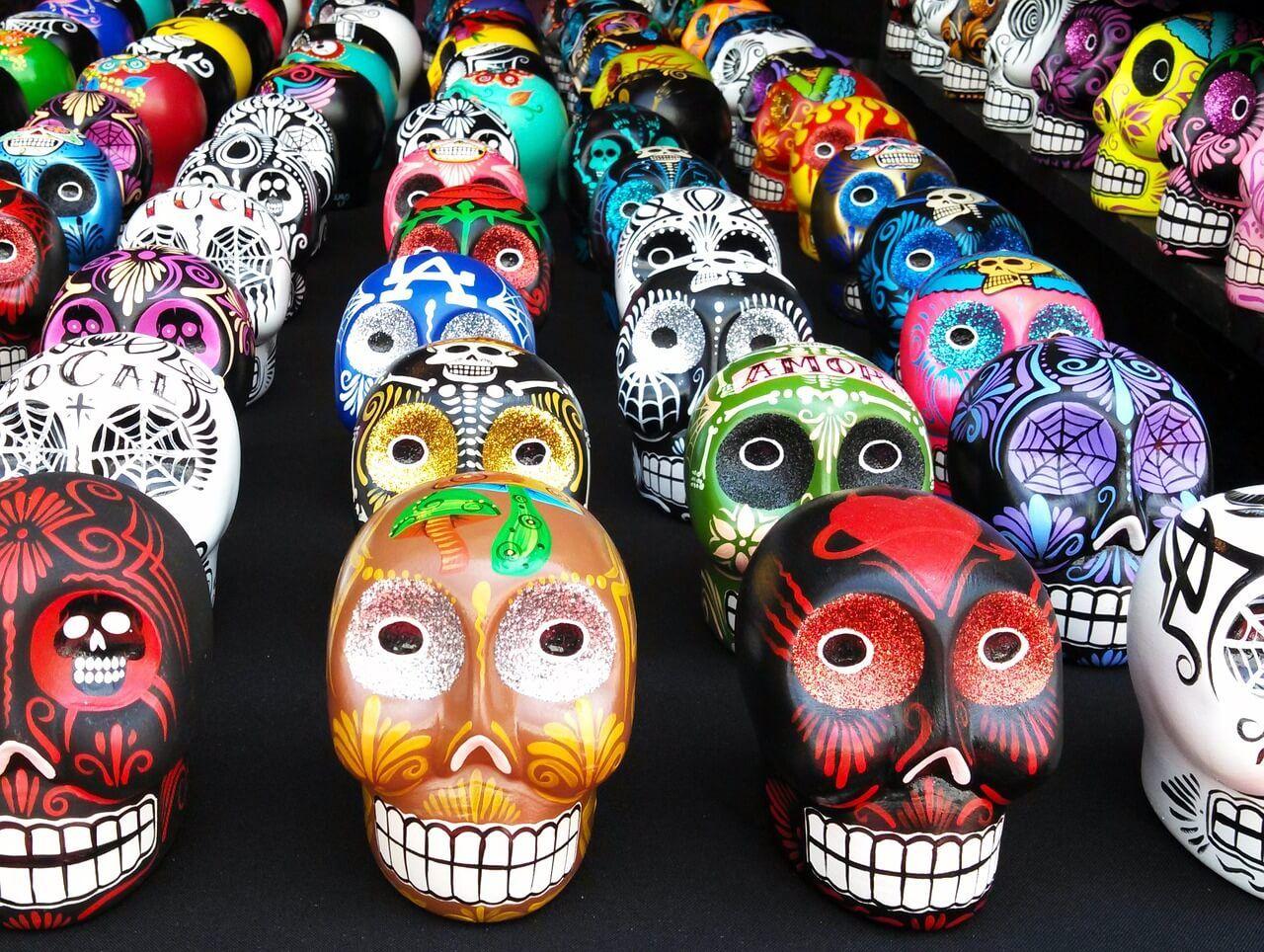 Teschi messicani colorati del giorno dei morti