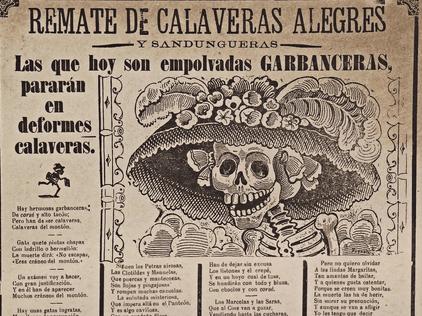 Giornale con teschio letterario e illustrazione della calavera garbancera