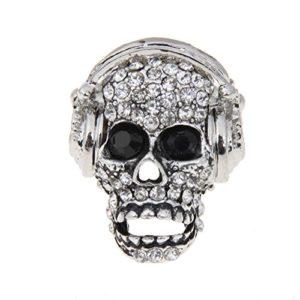 Anello con teschio di diamanti e cuffie argento