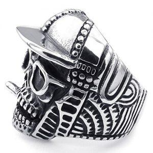 Anello con teschio argento rapper con occhiali e cappello