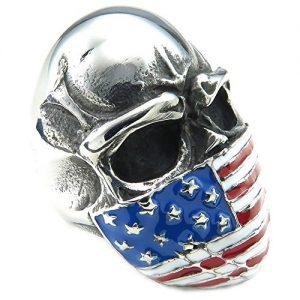 Anello con teschio argento e bandiera degli USA