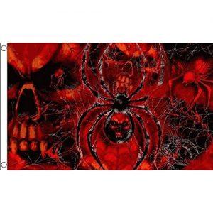 bandiera con teschi e ragni con ragnatele rossa e nera