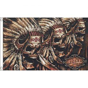 bandiera con teschi indiani e copricapo di piume