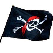 Bandiera nera con teschio pirata con asta