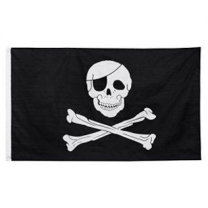 Bandiera nera con teschio bianco bendato e ossa incrociate