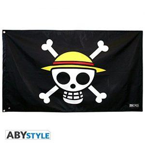 bandiera con il teschio di one piece con il cappello