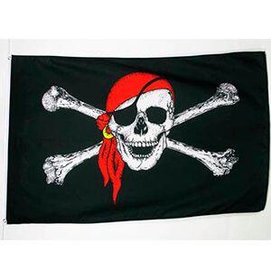 bandiera nera con teschio con benda e orecchino
