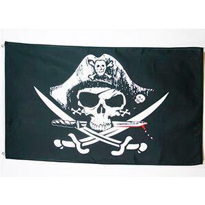 bandiera nera con teschio pirata e pugnale insanguinato