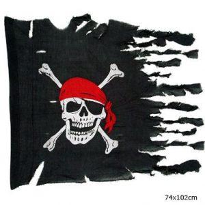 Bandiera nera con teschio pirata effetto rotto