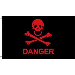 Bandiera con teschio Rosso e ossa incrociate di Pericolo