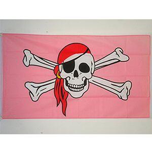 bandiera rosa con teschio pirata e ossa incrociate