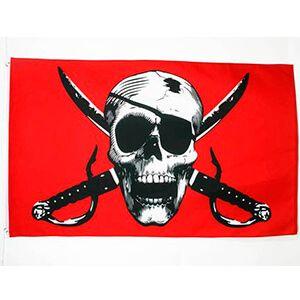 bandiera rossa con teschio con benda e sciabole incrociate