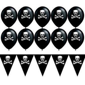 set di bandierine nere con teschio pirata bianco e palloncini per feste