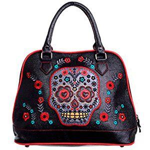 Borsa a mano nera con teschio messicano e fiori colorati