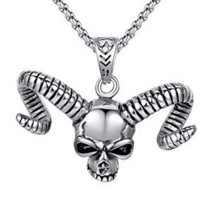 Collana con teschio gotico argento con corona in acciaio