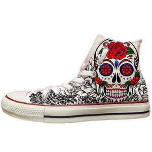 Converse All Star alte con teschio messicano e rose rosse