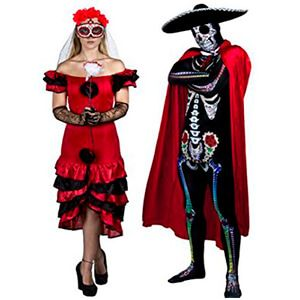 Costume da teschi messicani del giorno dei morti per coppia