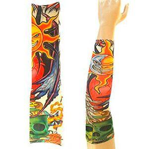 Manicotto con tatuaggio con teschio verde e sole e luna