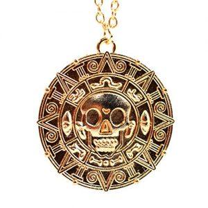 Ciondolo con Teschio stile Pirati dei Caraibi Azteco Color Oro