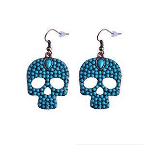 Orecchini pendenti con teschio e pietre blu turchese