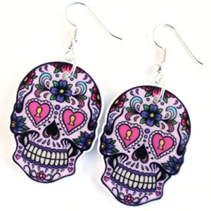 Orecchini pendenti con teschio messicano e fiori viola